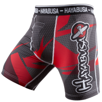 Metaru 47 Silver Compression Shorts - Black/Red